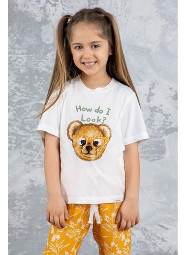 Katia & Bony Teddy Bear Basklı Kız Çocuk Pijama Takımı - Ekru Ekru